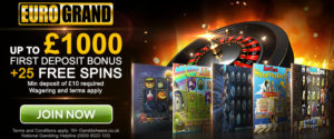 eurogrand welcome 25 free spins